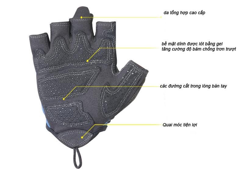 chất liệu găng tập gym nữ mặt trong lòng bàn tay cao cấp