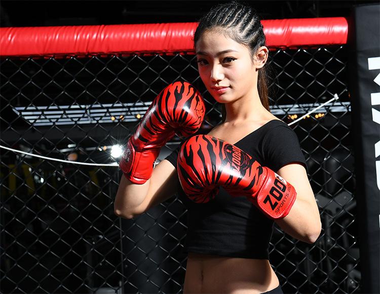 Găng boxing cao cấp Zooboo hoa văn hình hổ màu đỏ