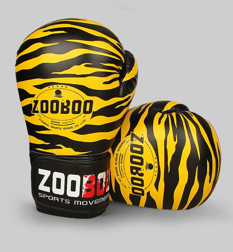 Găng boxing cao cấp Zooboo hoa văn hình hổ màu vàng