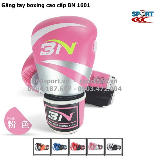 Găng tay boxing cao cấp BN 1601 màu hồng