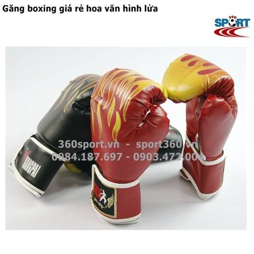 Găng boxing giá rẻ hoa văn hình lửa