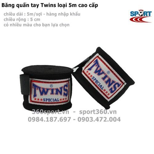 Băng quấn tay Twins loại 5m cao cấp màu đen