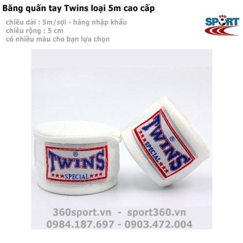 Băng quấn tay Twins loại 5m cao cấp màu trắng