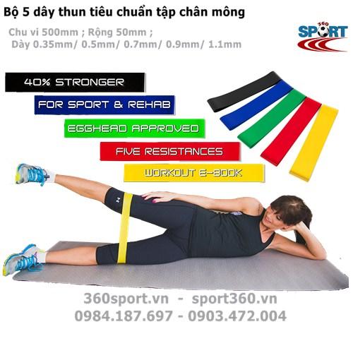 Bộ 5 dây thun tiêu chuẩn tập chân mông