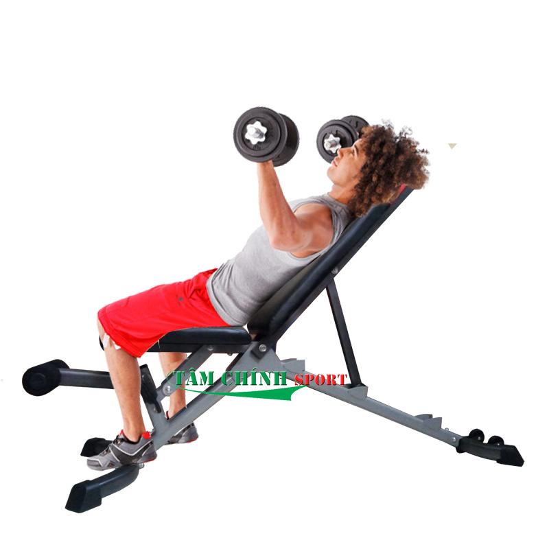 Tập đẩy tạ dốc trên với ghế tập tạ tay Bowplex