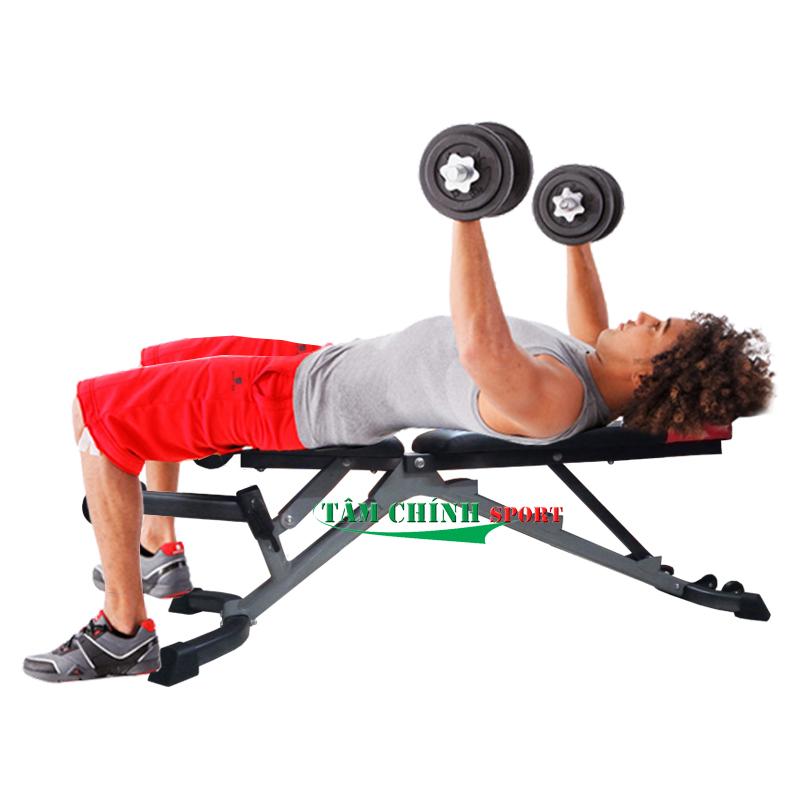 Tập đẩy tạ bằng với ghế tập tạ tay Bowplex