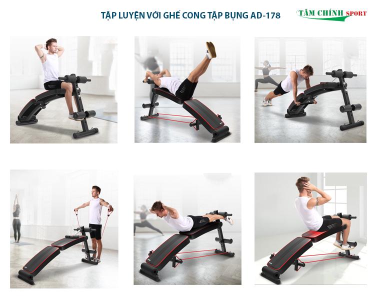 Tập luyện với ghế cong tập bụng AD-178 giá rẻ