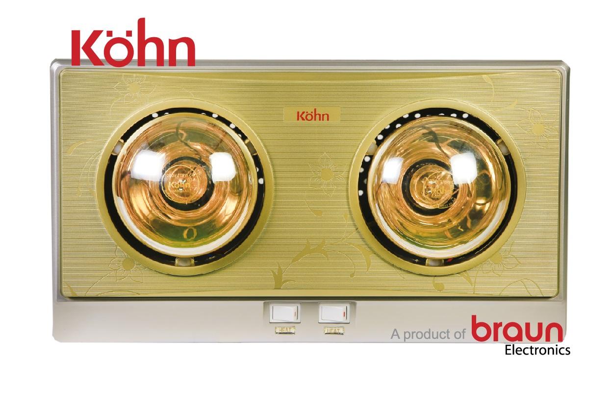 Image result for Đèn sưởi nhà tắm Kohn 2 bóng vàng thế hệ mới KN02G