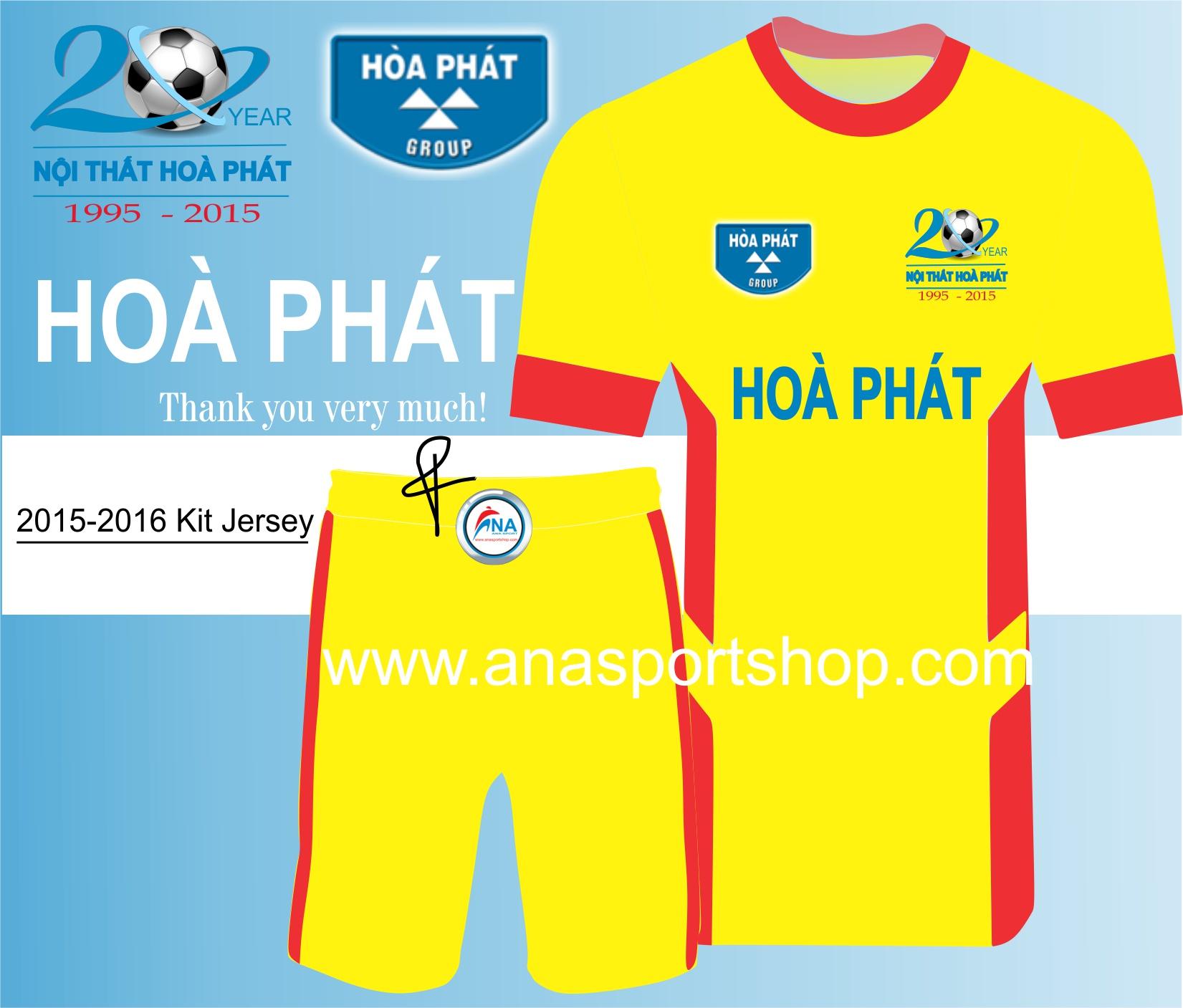 Ao bong da thiet ke Hoa Phat Vang