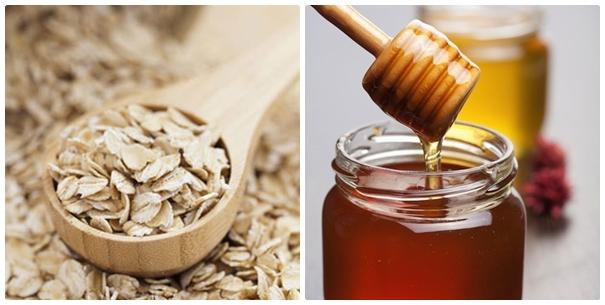 Bột yến mạch với mật ong trị mụn bọc