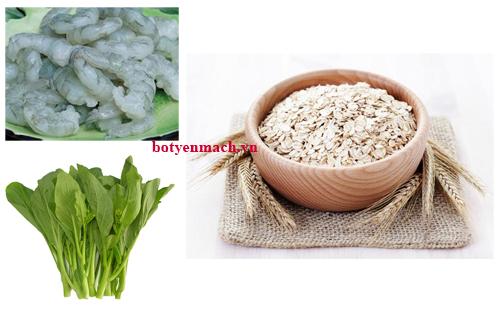 Cách nấu cháo Yến mạch với tôm và rau cải ngọt