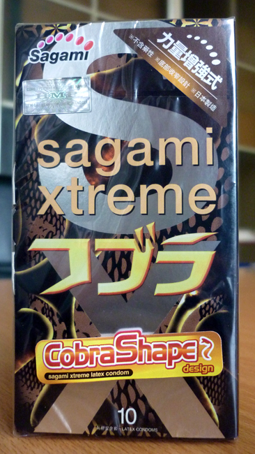 Bao cao su Sagami Xtreme Cobra thiết kế theo hình dáng rắn Hổ Mang Vàng