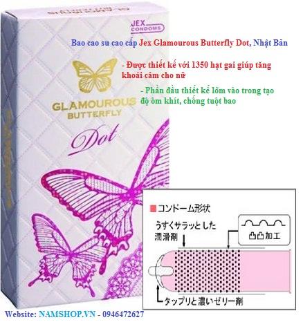 Bao cao su cao cấp Jex Glamourous Butterfly Dot với 1350 hạt ngọc trai
