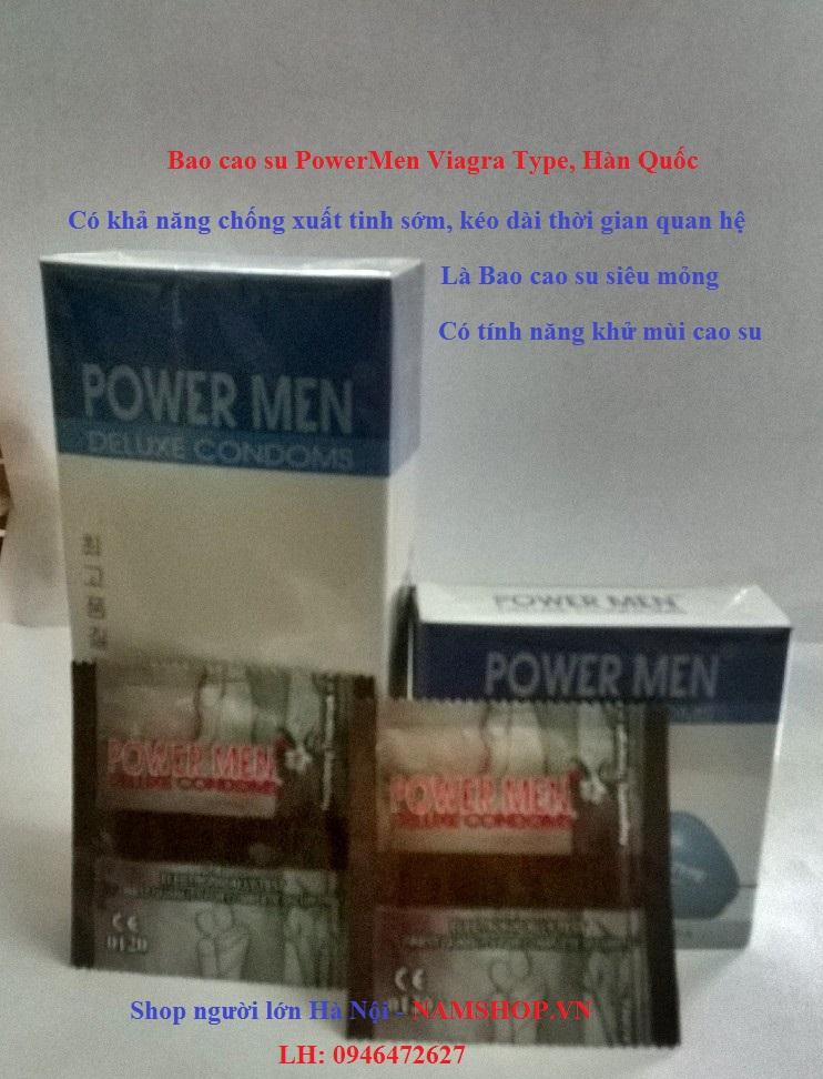 Bao cao su mỏng và chống xuất tinh sớm Power Men Viagra Type, Hàn Quốc