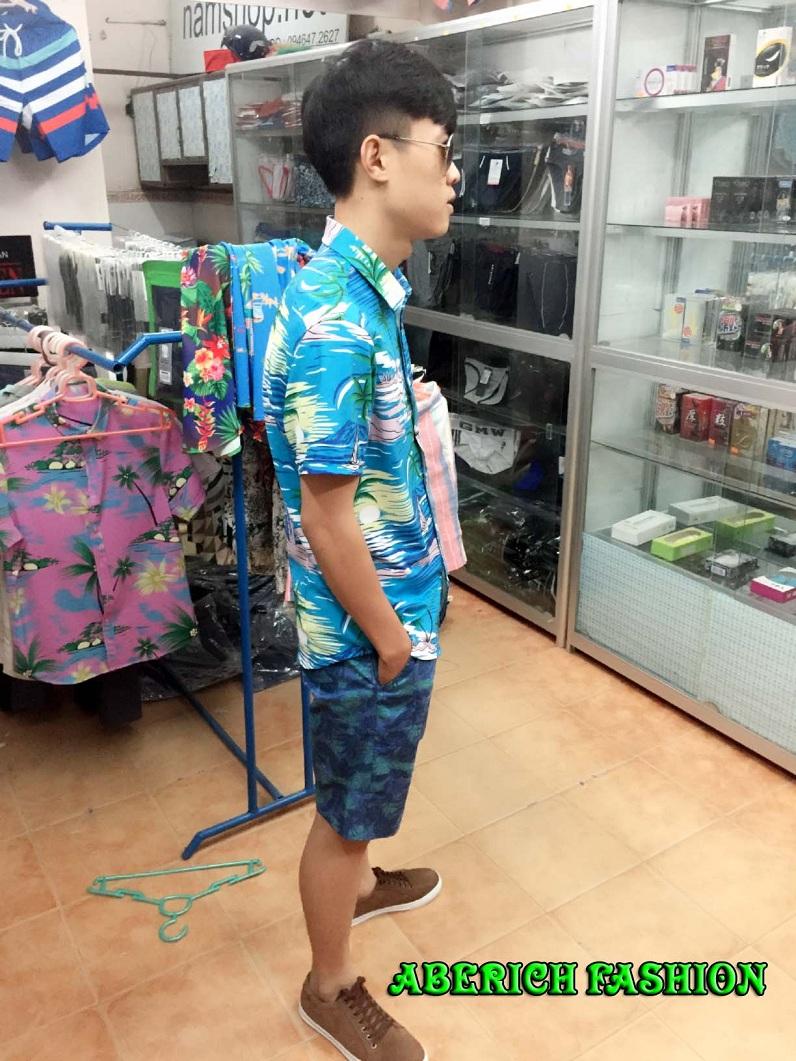 Áo sơ mi họa tiết cây dừa cho nam đi biển