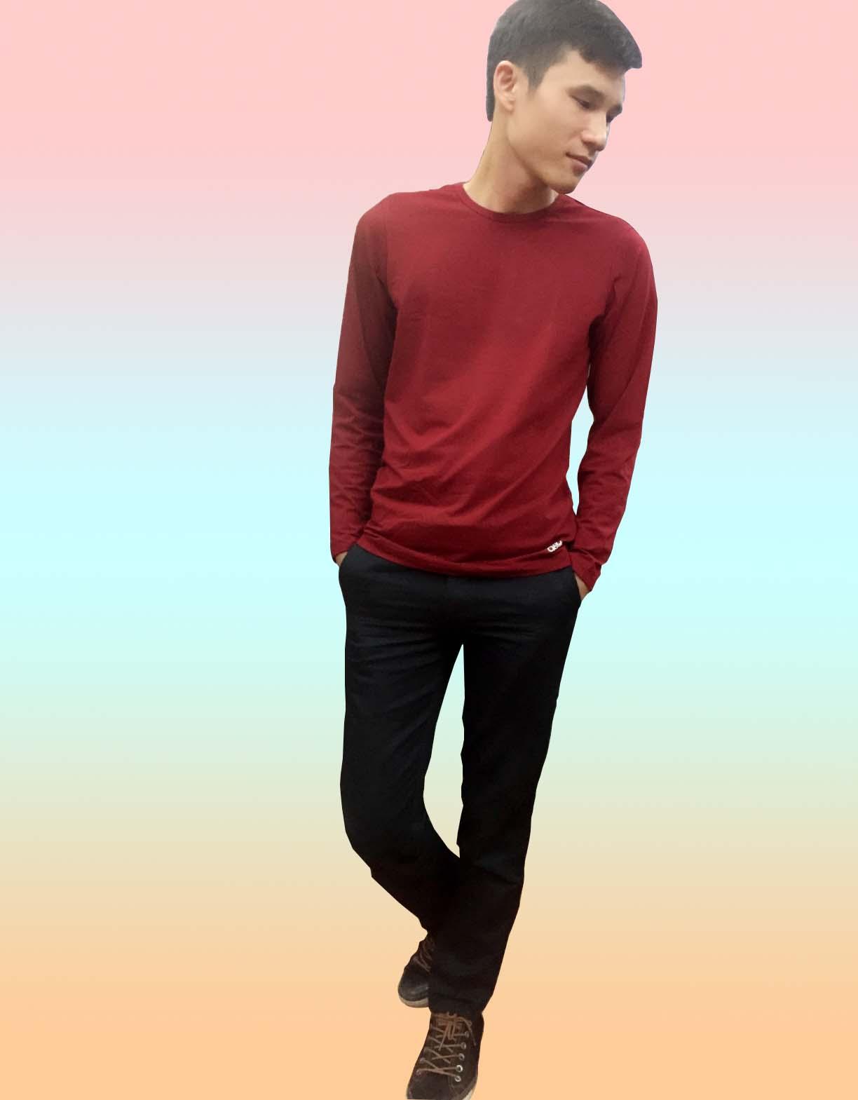 Áo giữ nhiệt cho nam cổ tròn màu đỏ đun