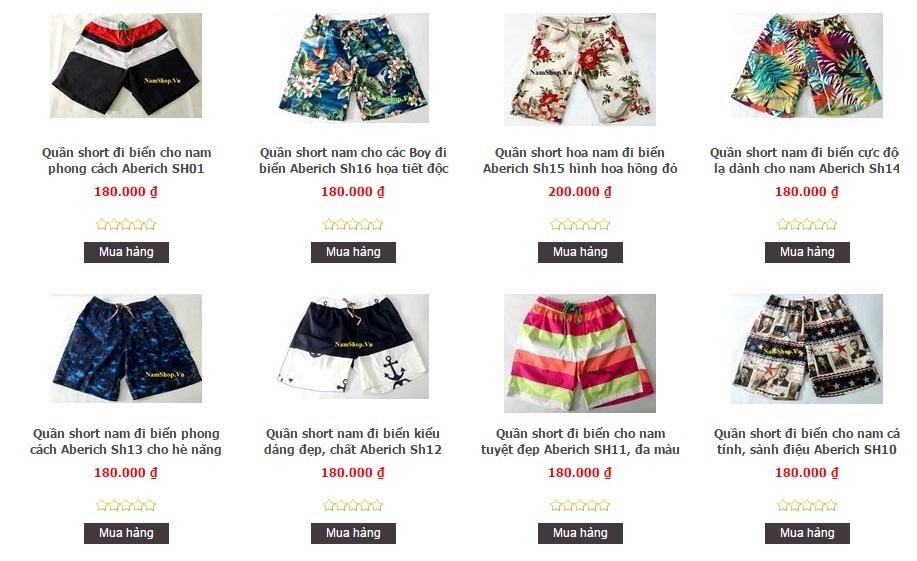 Các mẫu quần short nam đi biển độc lạ có bán tại NamShop Hà Nội