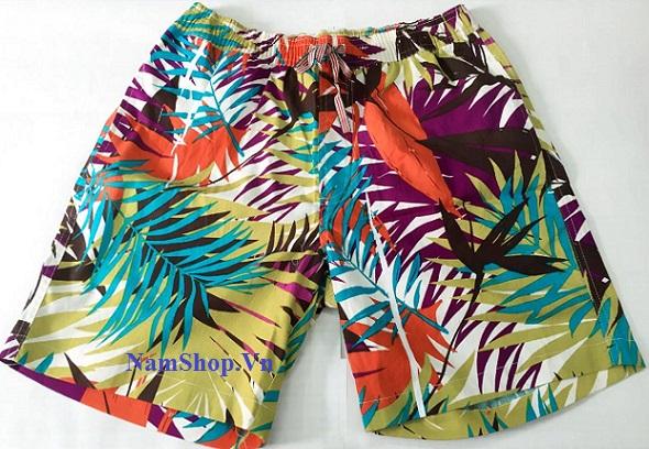 Hình ảnh quần short nam đi biển Aberich SH14 họa tiết hoa lá