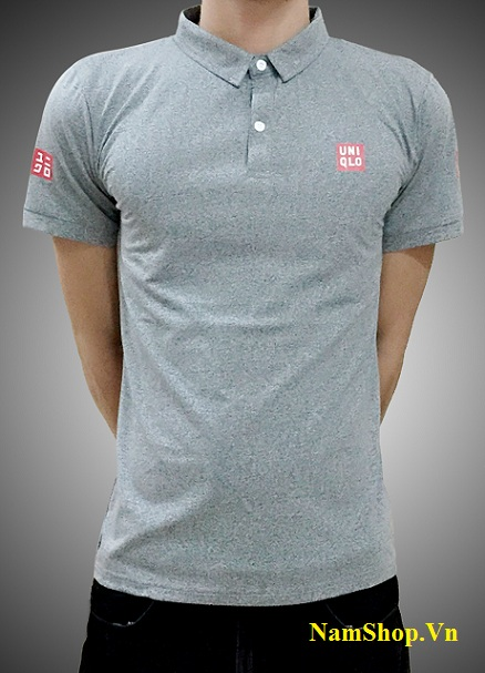 Áo phông cộc tay nam cao cấp hiệu Uniqlo màu xám ghi