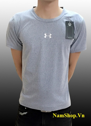 Áo phông nam cộc tay màu xám cổ tròn hiệu Nike