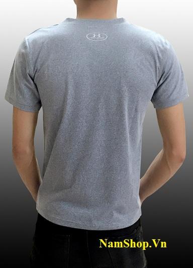 Hình ảnh áo phông nam cộc tay cổ tròn màu xám ghi