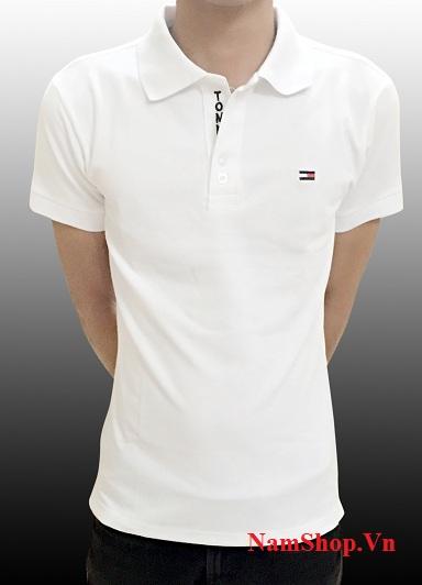 Áo phông cộc tay nam cao cấp màu trắng, cổ bẻ