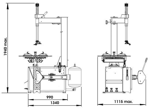 Kích thước của dòng máy tháo vỏ xe HPA