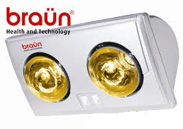Đèn sưởi nhà tắm Braun KU02G - 2 bóng vàng