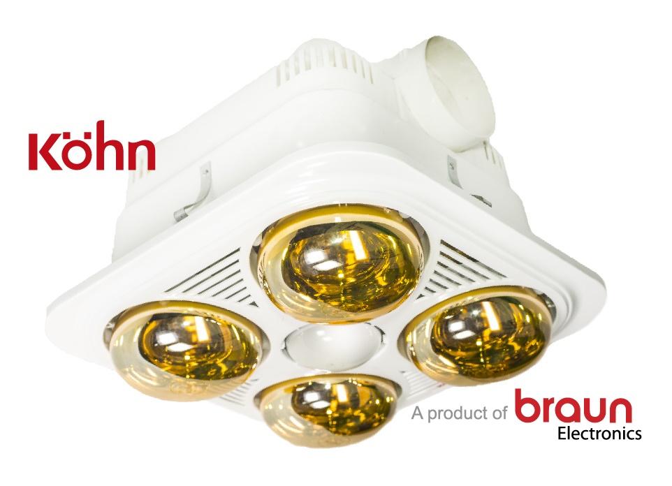 Đèn sưởi nhà tắm Braun Kohn 4 bóng âm trần
