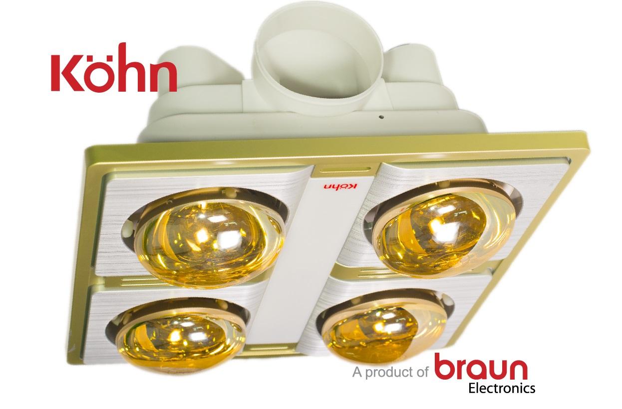 Đèn sưởi nhà tắm Braun Kohn 4 bóng âm trần KN04G