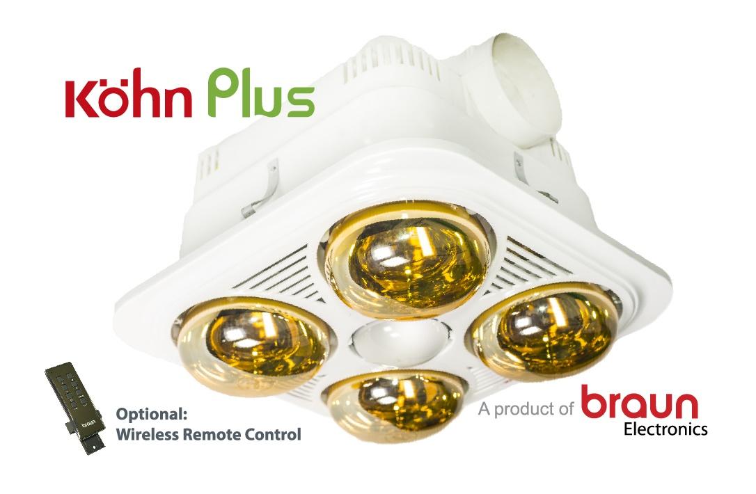 Đèn sưởi nhà tắm Braun Kohn 4 bóng âm trần có điều khiển từ xa