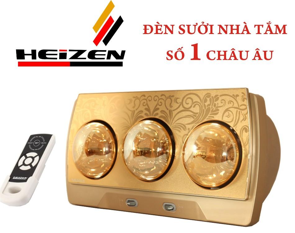 Đèn sưởi nhà tắm Heizen 3 bóng vàng HE3BR (điều khiển từ xa)