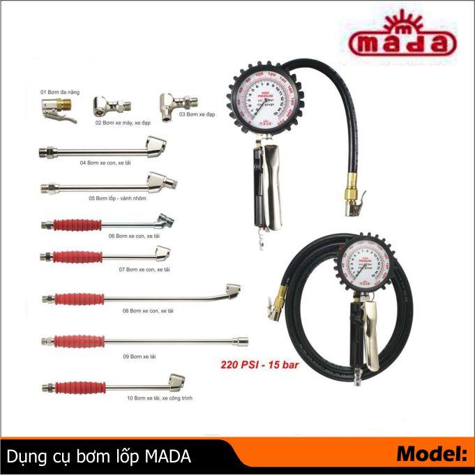 Dụng cụ bơm lốp MADA, tay bơm lốp, đồng hồ đo hơi