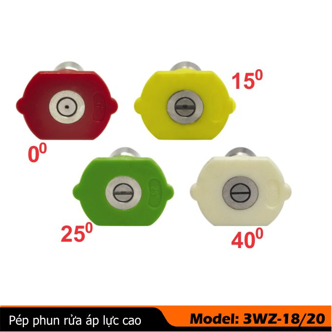 Đầu bép phun rửa xe 0-15 -25-40 độ