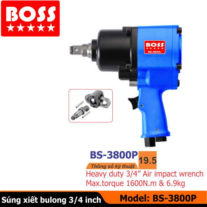 Súng vặn bulong, dụng cụ khí nén BOSS  BS3800P, Súng xiết bulong, dụng cụ khí nén