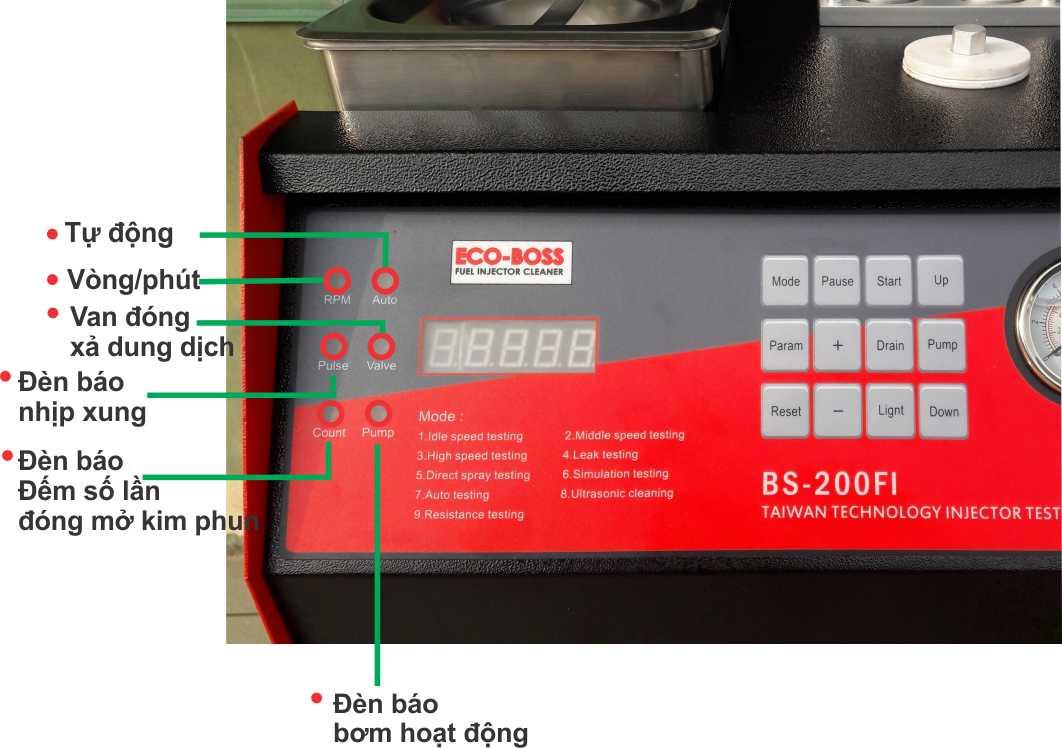máy rửa kim phun xe máy ô tô, thiết bị rửa béc phun điện tử, máy súc rửa kim phun