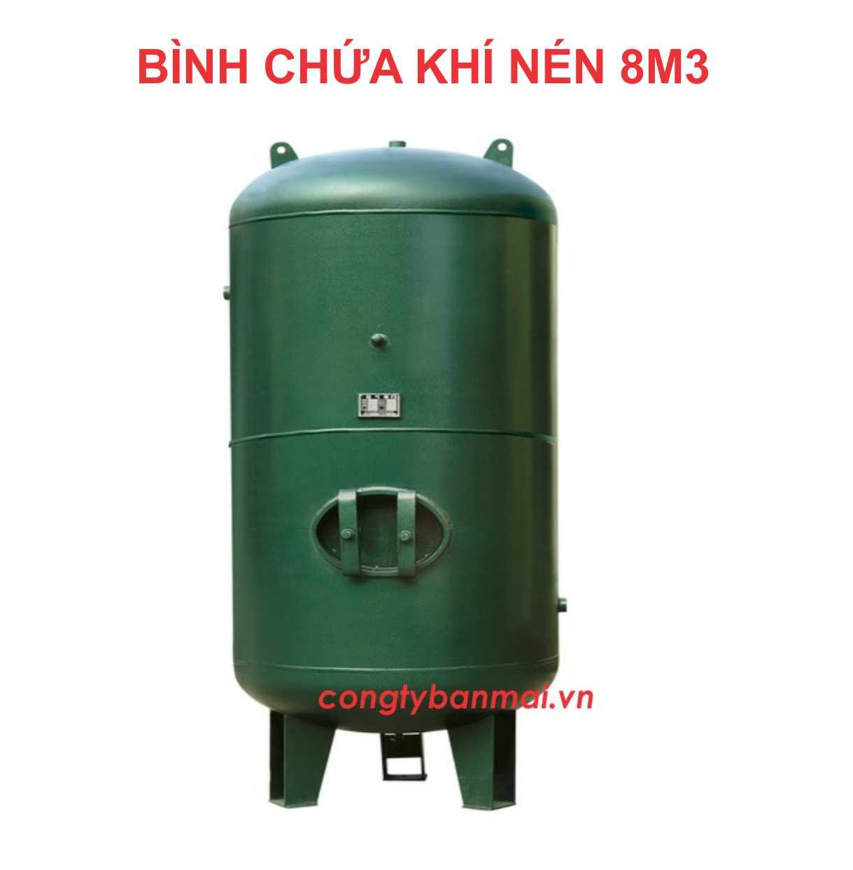 Bình nén khí 8 m3,  bình chứa khí nén 8000 lít, bình áp lực, bình bơm hơi