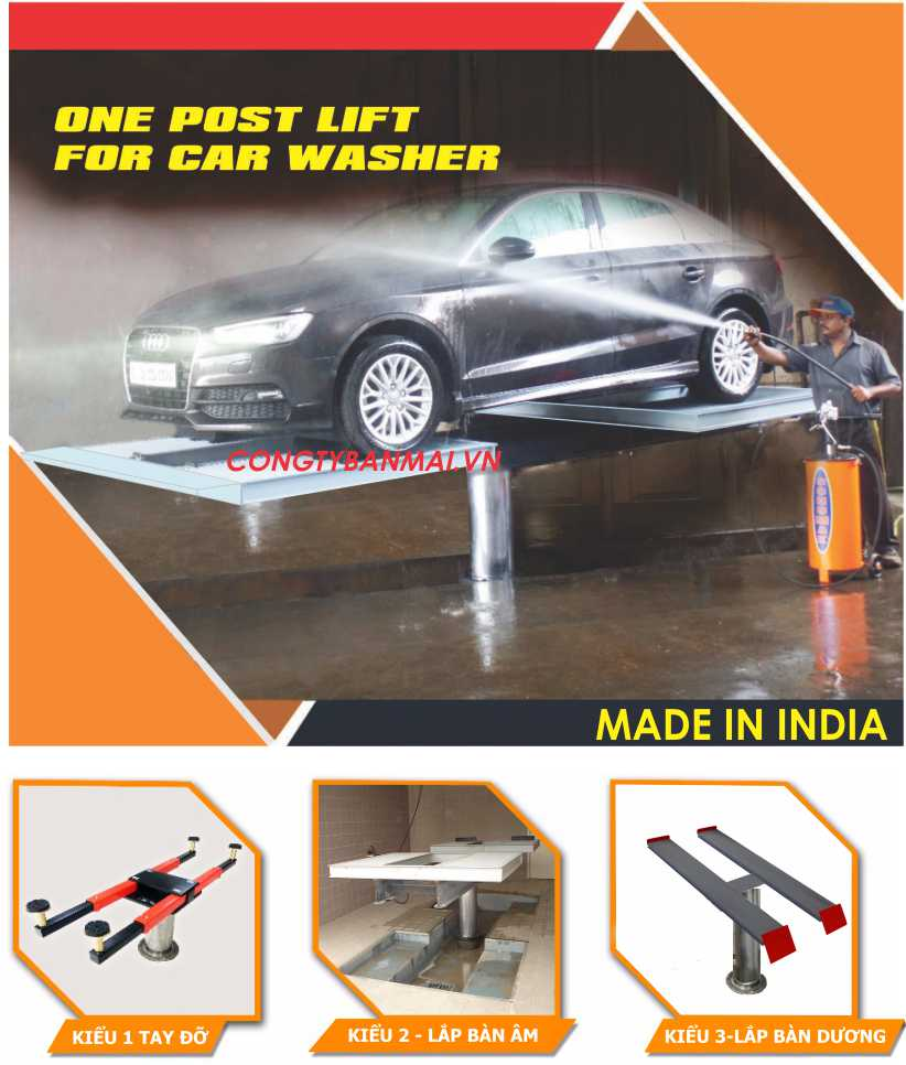 Cầu nâng ấn độ rửa xe ô tô, ben nâng rửa xe ấn độ, ben rửa xe ô tô, cầu nâng 1 trụ rửa xe