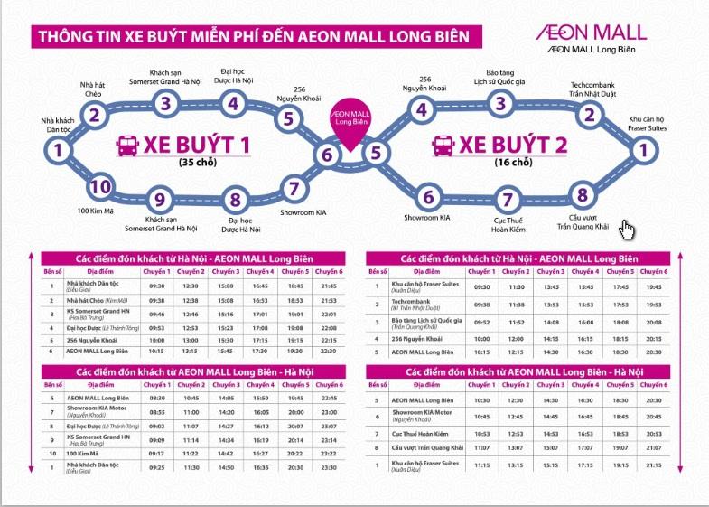 xe bus Aeon mall Hà Nội