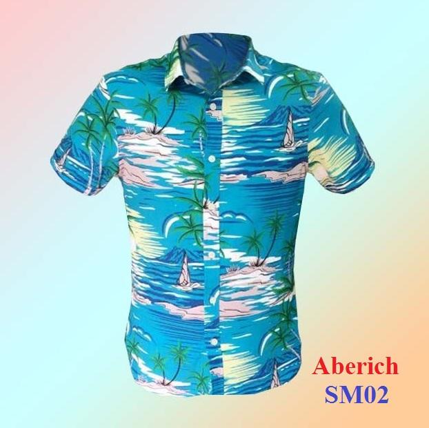 Áo họa tiết cây dừa Aberich Sm02 - Thời trang đi biển cho nam