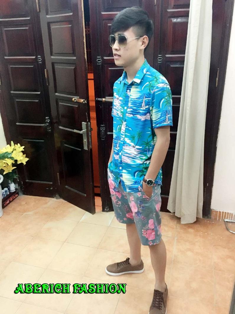 Áo họa tiết hoa lá Aberich - thời trang đi biển mới cho các chàng