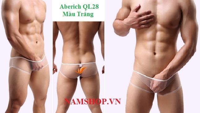 Quần lót nam lưới trong suốt Aberich QL28 màu trắng