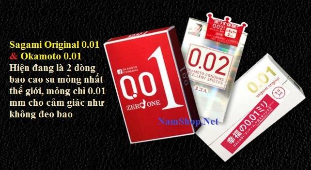 Okamoto 001 và Sagami Original 001 là 2 dòng bao cao su mỏng nhất thế giới hiện nay