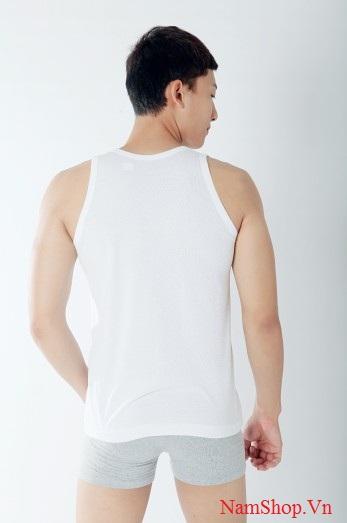 Áo ba lỗ màu trắng cho nam hàng Dệt Kim