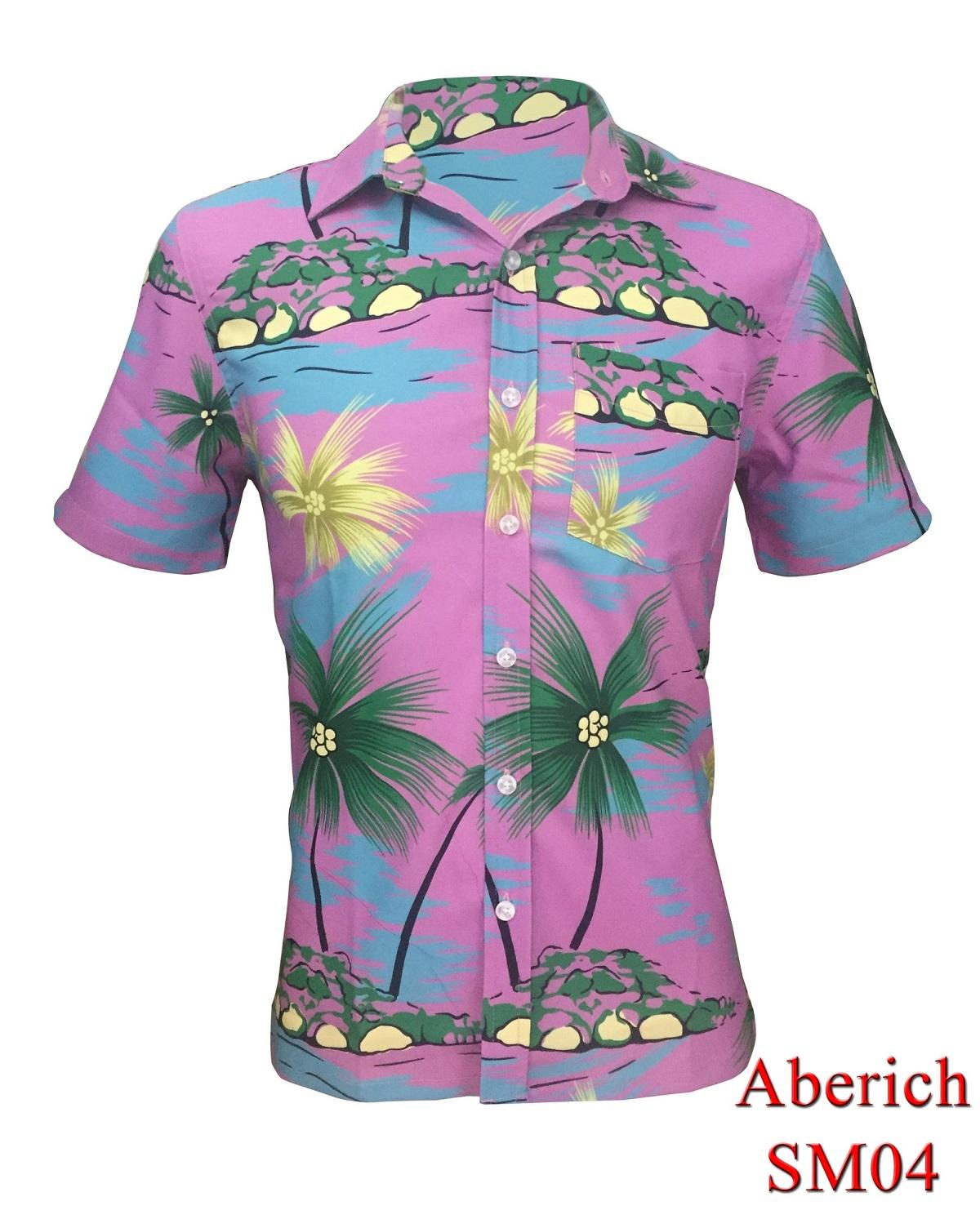 Áo sơ mi họa tiết Hawaii đi biển Aberich SM04