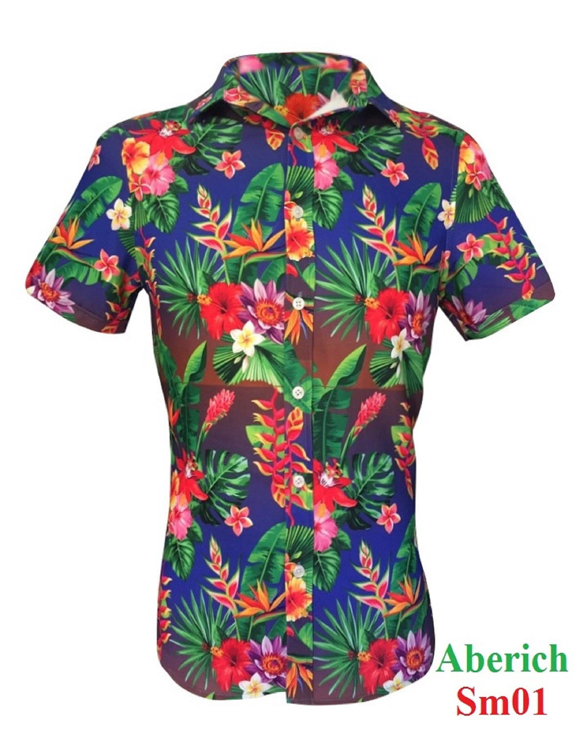 Áo sơ mi họa tiết Hawaii đi biển Aberich SM01