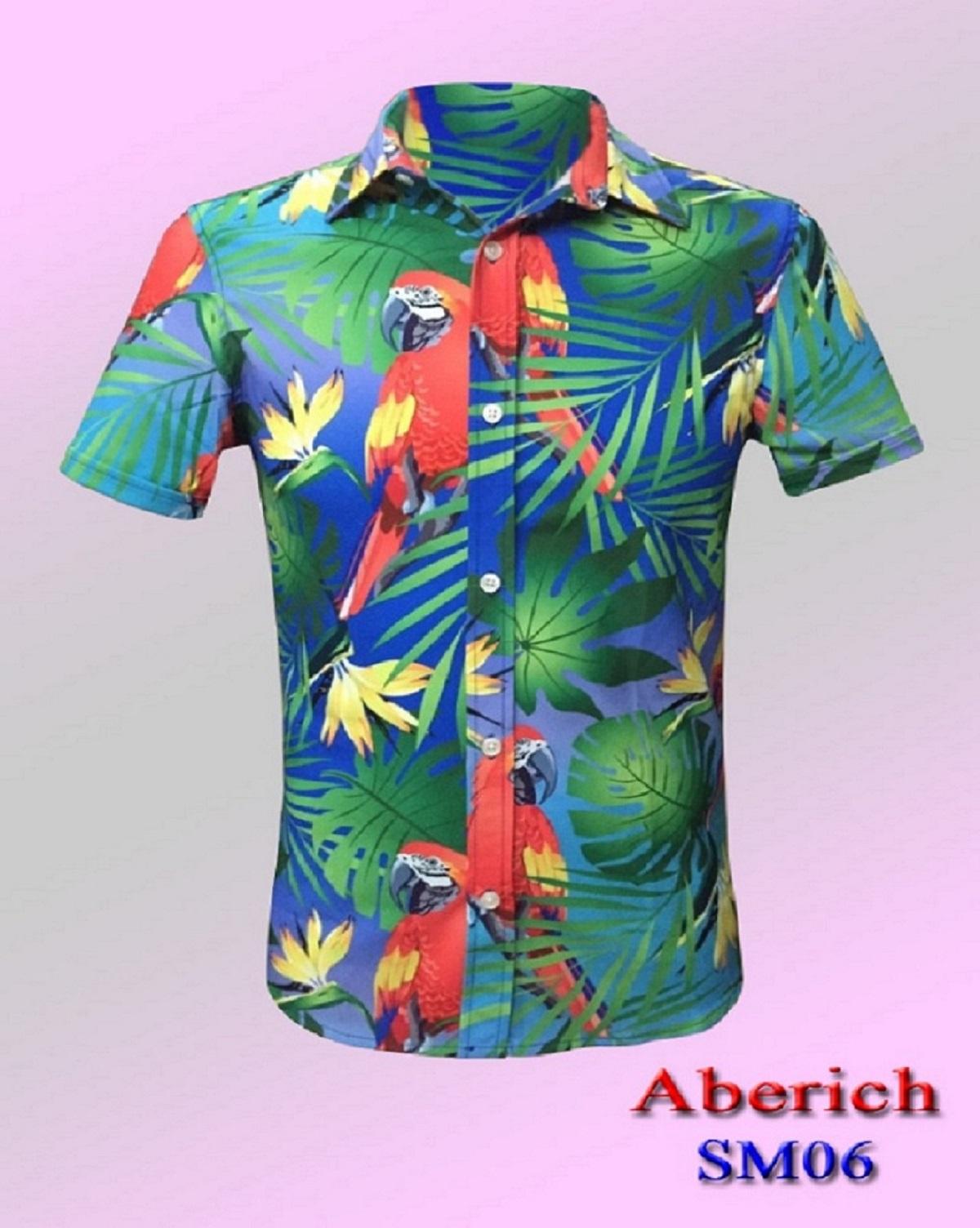 Áo sơ mi họa tiết Hawaii đi biển Aberich SM06