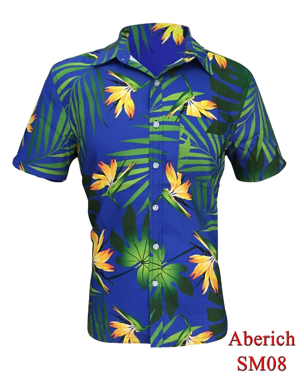 Áo sơ mi họa tiết Hawaii đi biển Aberich SM08