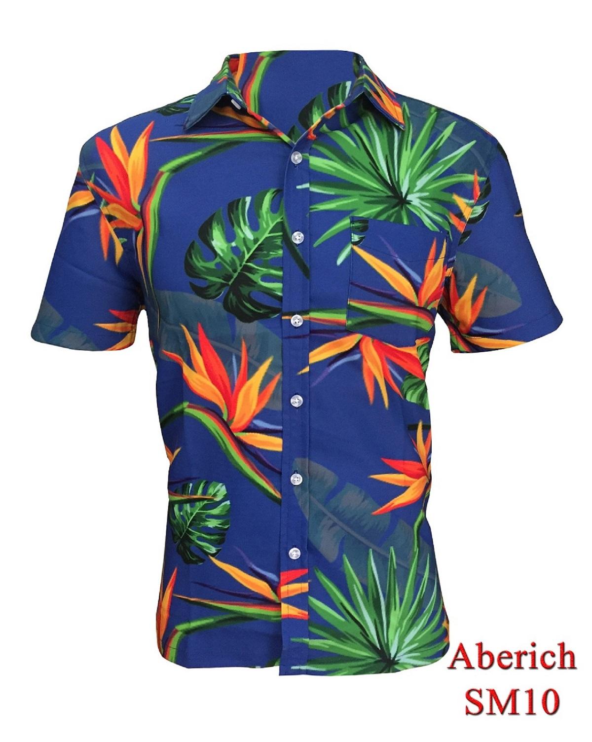 Áo sơ mi họa tiết Hawaii đi biển Aberich SM10