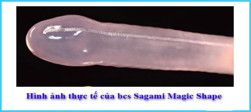 Hình thực tế của bao cao su size nhỏ Sagami Magic Shape